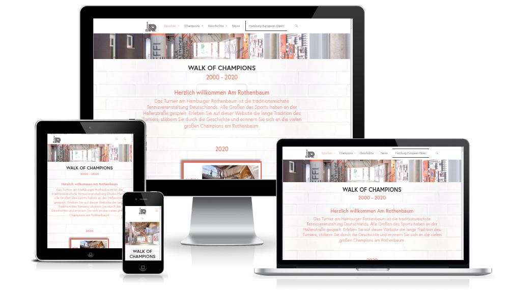 Internetseite amrothenbaum.hamburg im Responsive Webdesign auf unterschiedlichen Geräten